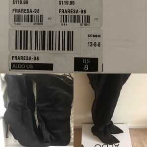 Size 8  Aldo Black Suede Knee High Boots.